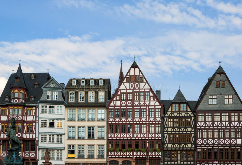 Frankfurt central square. View of Frankfurt historical central square palaces in sunny day stock photos