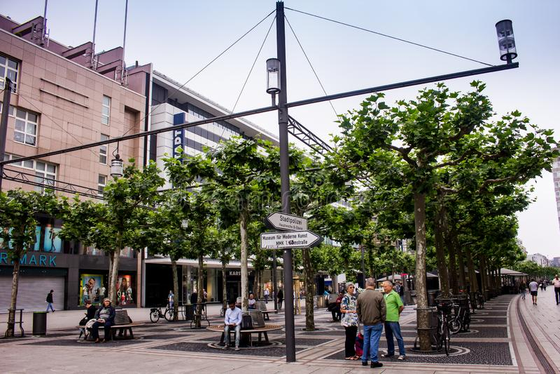 Frankfurt city center area commercial area. Frankfurt am Main, Germany royalty free stock images