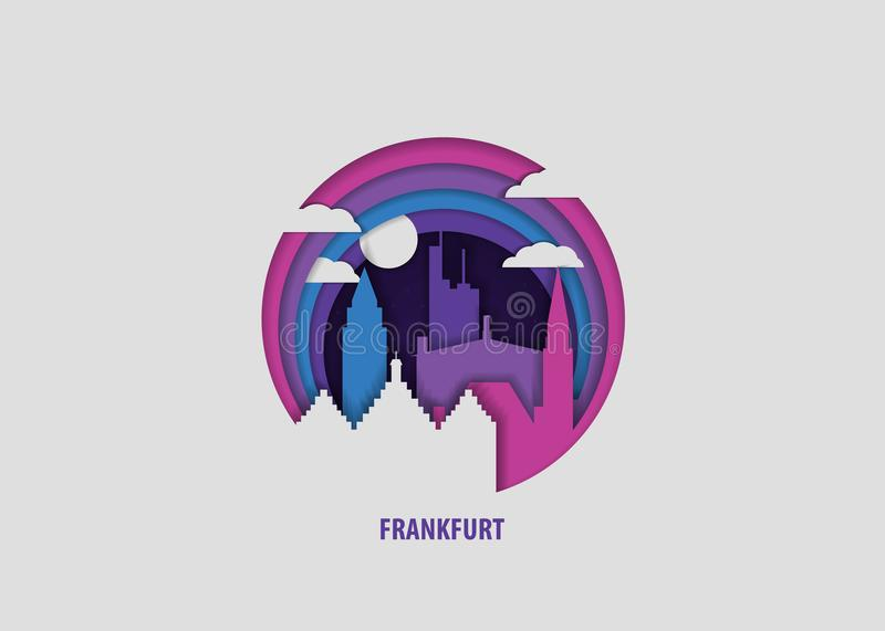 Frankfurt city origami paper vector isolated illustration. Creative paper cut layer craft Frankfurt vector illustration. Origami style city skyline travel art in stock illustration