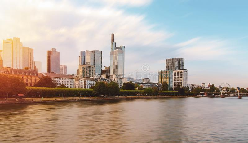 Frankfurt city skyline at evening time front of Main river in Germany. YI DIGITAL CAMERA, urban, tourism, travel stock image