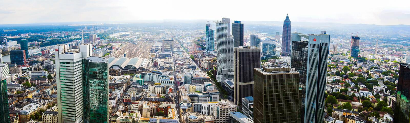 Frankfurt city skyline in Germany royalty free stock photos