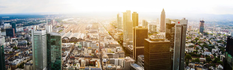 Frankfurt city skyline in Germany royalty free stock images