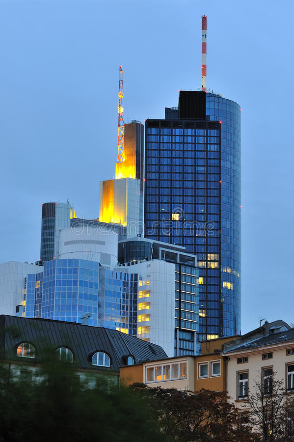 Frankfurt city at blue hour stock photography