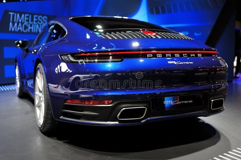 FRANKFURT, DEUTSCHLAND - SEPT 2019: Blaues PORSCHE 911 IAA Internationale Auto-Show-Ausstellung stockbilder