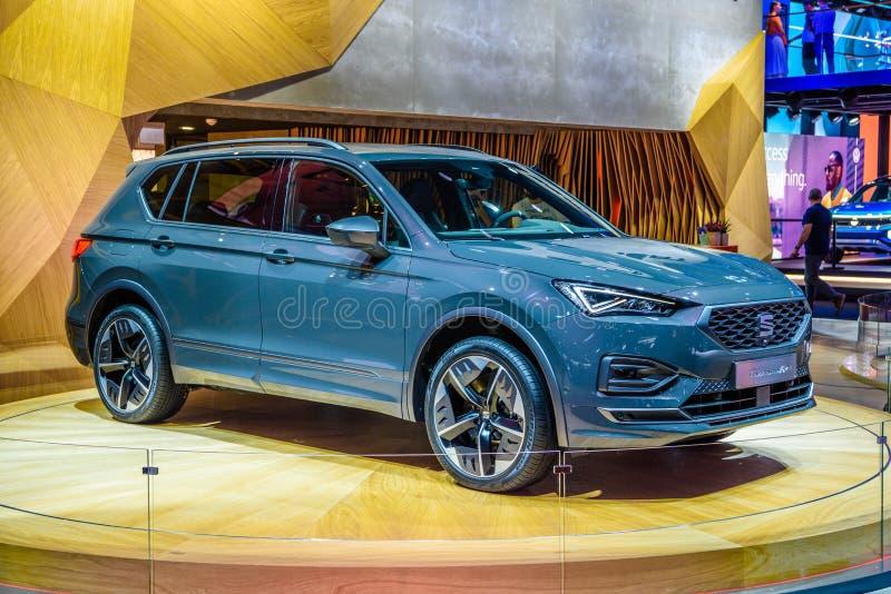 FRANKFURT, DEUTSCHLAND - SEPT 2019: blaues SITZ TARRACO FR E elektrische SUV, IAA Internationale Automobilausstellung Auto-Ausste stockbild