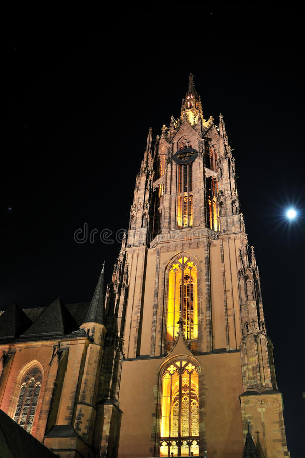 Frankfurt dome cathedral by night stock image