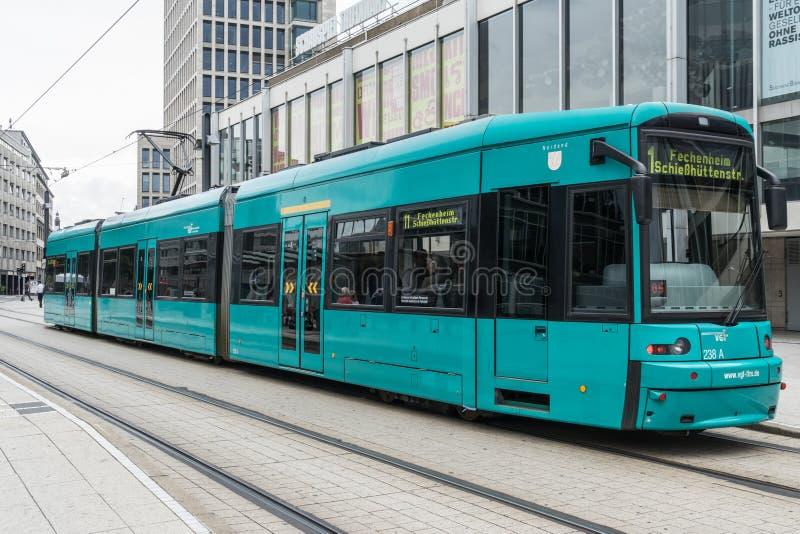 Frankfurt - Am - główny tramwaj fotografia stock