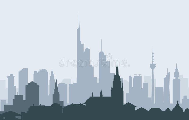 Frankfurt (German) Morning Skyline -Vector. Frankfurt (German) Morning Skyline is a vector illustration royalty free illustration