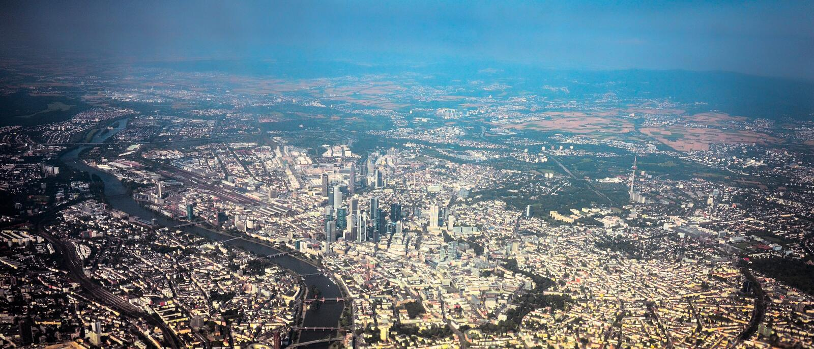 Frankfurt Germany aerial view royalty free stock photography