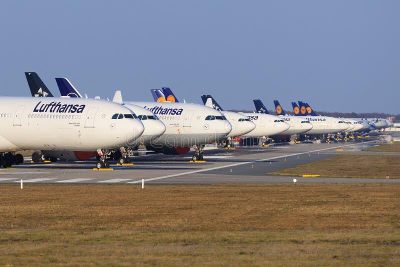 Lufthansa airplanes during Coronavirus Corona Virus COVID-19 at Frankfurt airport FRA in Germany stock image