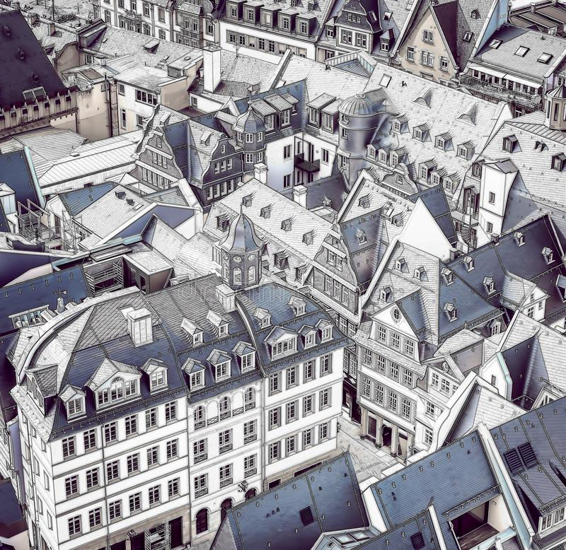 Frankfurt, Germany architectural view. Aerial view of the old city center with sketch effect applied. stock photo
