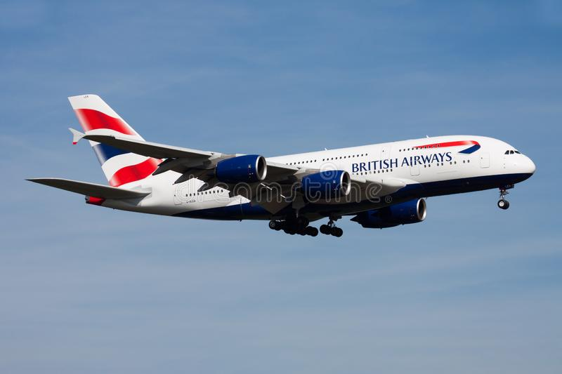 British Airways Airbus A380 G-XLEA passenger plane landing at Frankfurt Airport stock images