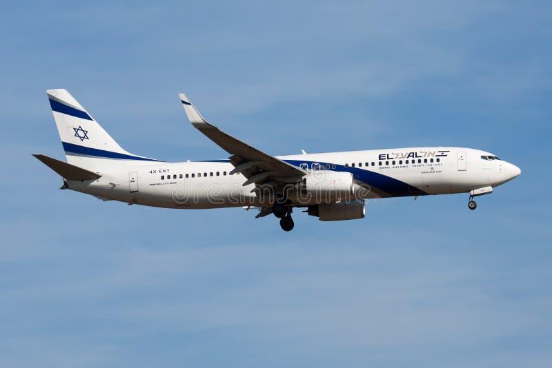 EL AL Israel Airlines Boeing 737-800 4X-EKT passenger plane landing at Frankfurt Airport stock photos