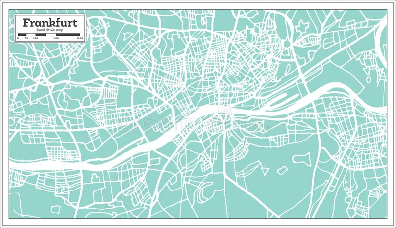 Frankfurt Germany City Map in Retro Style. Outline Map. Vector Illustration royalty free illustration