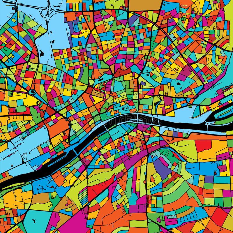 Frankfurt, Germany, Colorful Vector Map on Black. Printable outline Version, ready for color change, Separated On White stock illustration