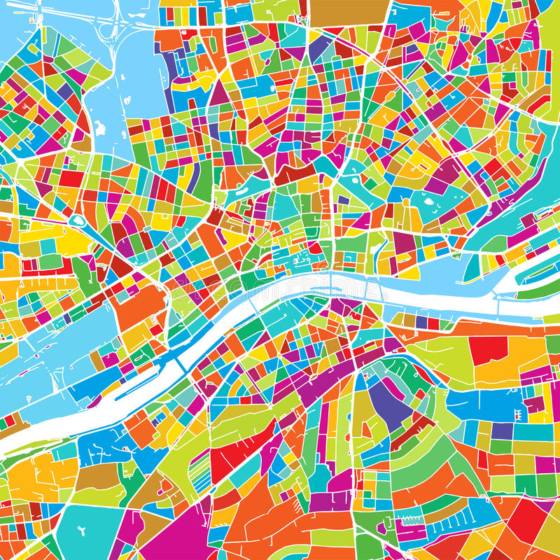 Frankfurt, Germany, Colorful Vector Map. Printable outline Version, ready for color change, Separated On White stock illustration