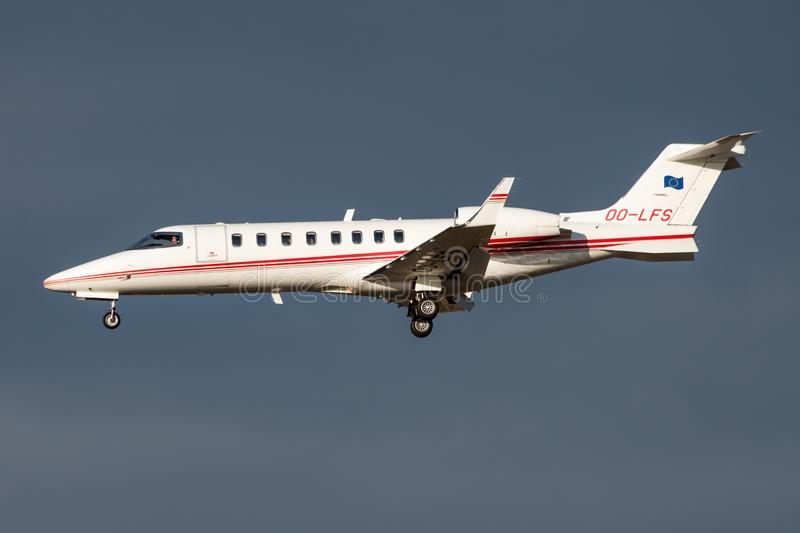 Abelag Aviation Learjet 45 OO-LFS private business jet landing at Frankfurt Airport stock image