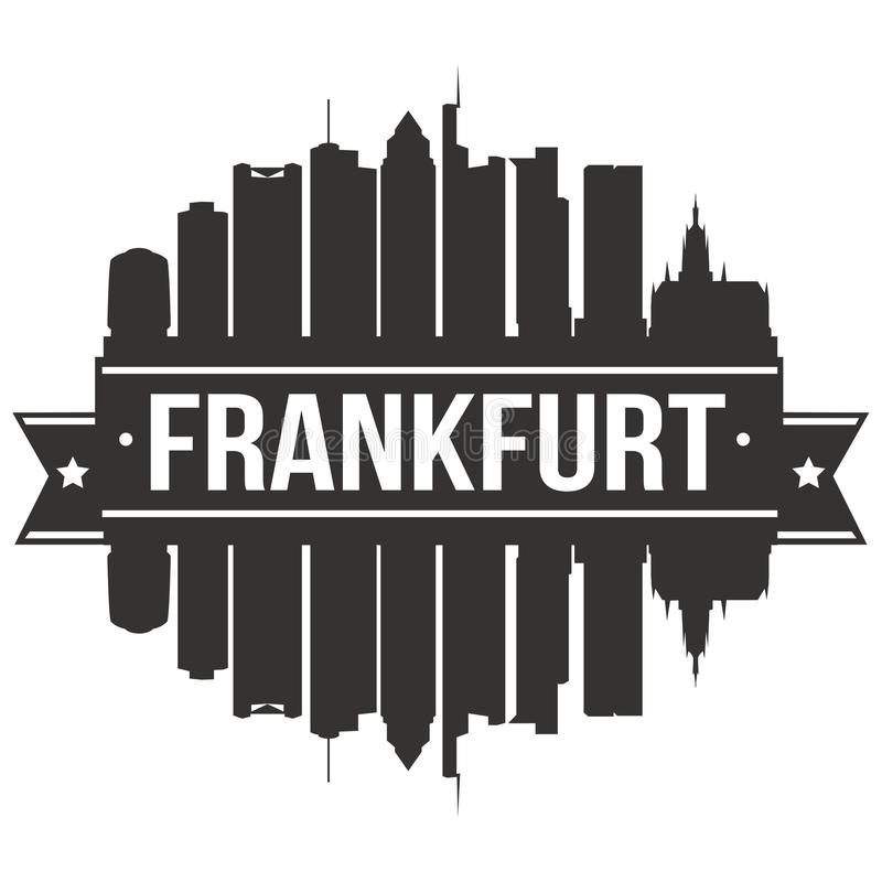 Frankfurt Germany Euro Europe Icon Vector Art Design Skyline Flat City Silhouette Editable Template. A emblematic elements of this city, template vector icon royalty free illustration