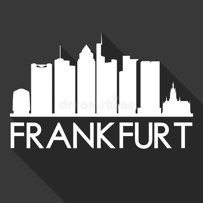 Frankfurt Germany Europe Euro Icon Vector Art Flat Shadow Design Skyline City Silhouette Template Black Background. A emblematic elements of this city, template royalty free illustration