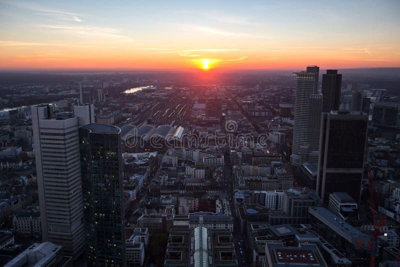Frankfurt germany evening sundown from above royalty free stock photos