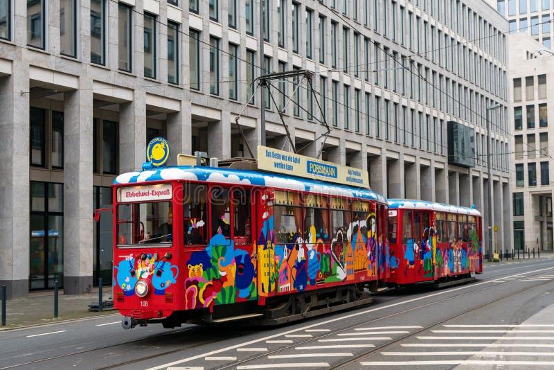 Ebbelwei-Express tram streetcar sightseeing city tour in Frankfurt Germany stock image