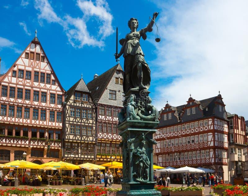Frankfurt, Germany - June 15, 2016: View of Roemerberg square stock photography