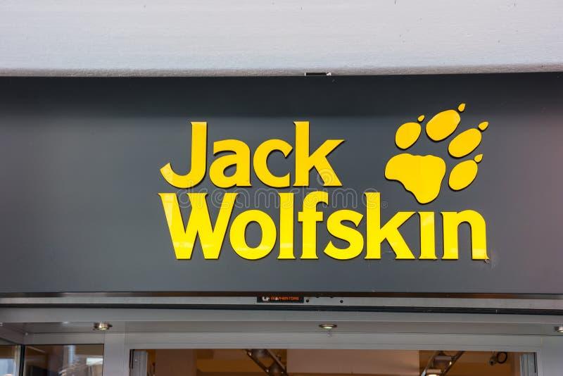 Jack Wolfskin store logo royalty free stock photos