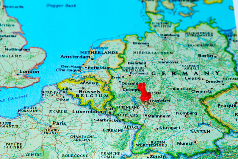 Frankfurt Germany Pinned On A Map Of Europe Stock Image Image