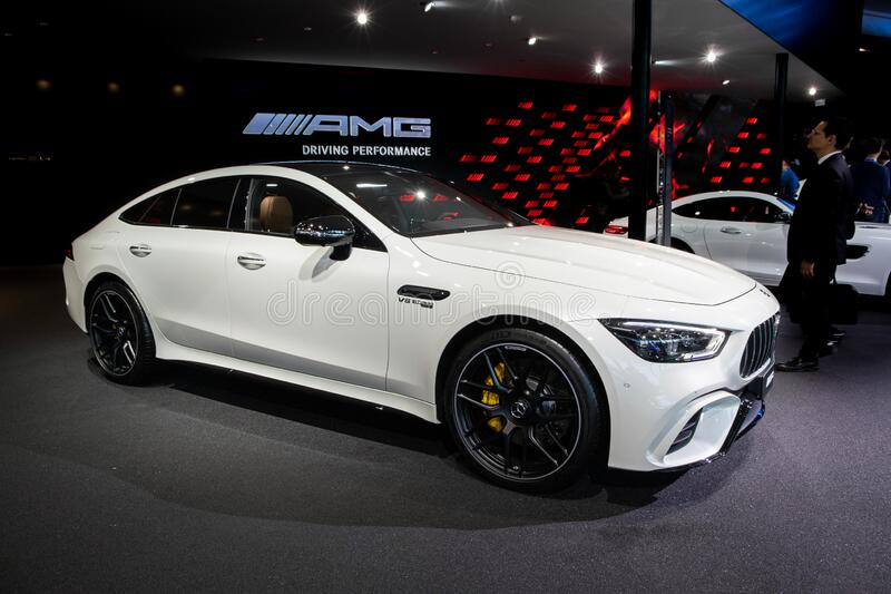 FRANKFURT, GERMANY - SEP 10, 2019: Mercedes AMG GT 63 S Coupe sports car showcased at the Frankfurt IAA Motor Show 2019. Benz 63s white 4door 4matic new modern stock images