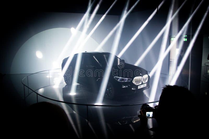 FRANKFURT, GERMANY - SEP 10, 2019: New BMW X6 Vantablack car showcased at the Frankfurt IAA Motor Show 2019. Dark lights presentation modern model auto stock photo