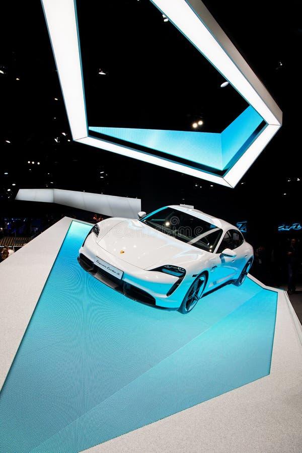 FRANKFURT, GERMANY - SEP 10, 2019: Porsche Taycan Turbo S sports car reveiled at the Frankfurt IAA Motor Show 2019. White auto new modern transportation vehicle stock photo