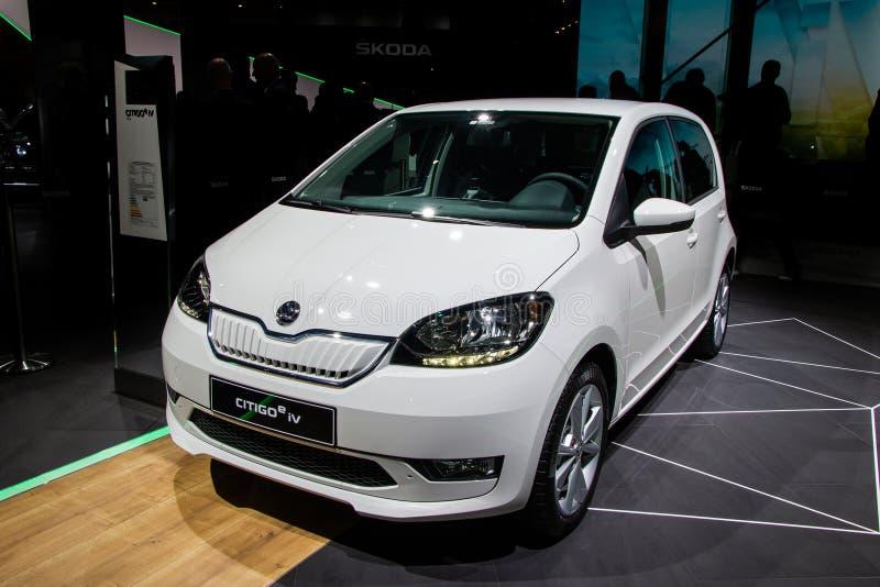 FRANKFURT, GERMANY - SEP 10, 2019: Skoda Citigo-e iV electric city car showcased at the Frankfurt IAA Motor Show 2019. White auto new modern vehicle exhibition royalty free stock photos
