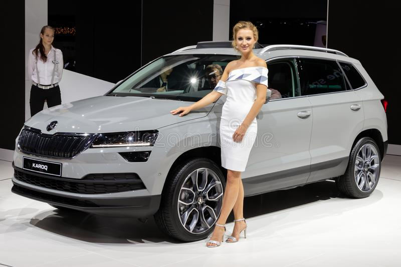 Skoda Karoq car. FRANKFURT, GERMANY - SEP 13, 2017: Skoda Karoq car presented at the Frankfurt IAA Motor Show auto automobile vehicle modern transportation type stock photos
