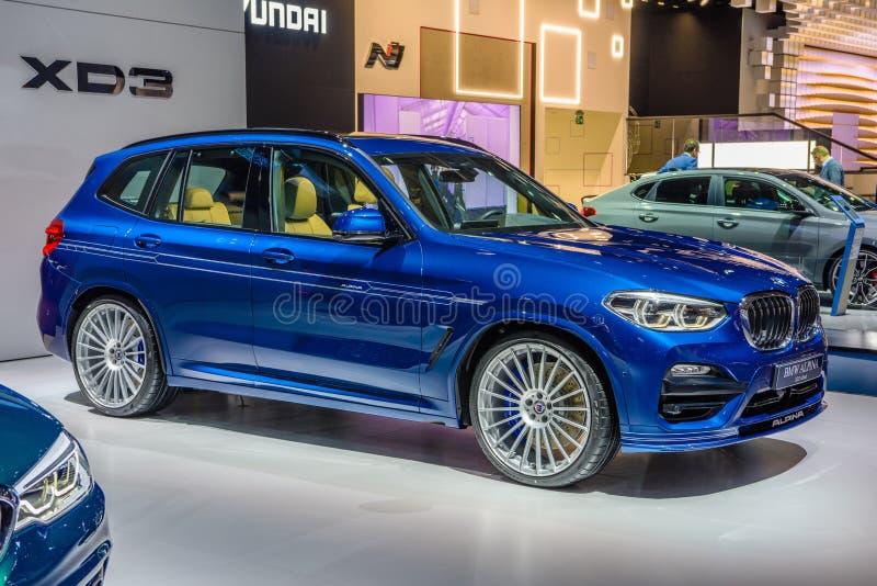 Франкфурт, Германия-сентябрь 2019 года: синий BMW ALPINA XD3 ALLROAD X3 SUV, IAA International Motor Show Auto Exhibition. Роялти бесплатные стоковые фотографии