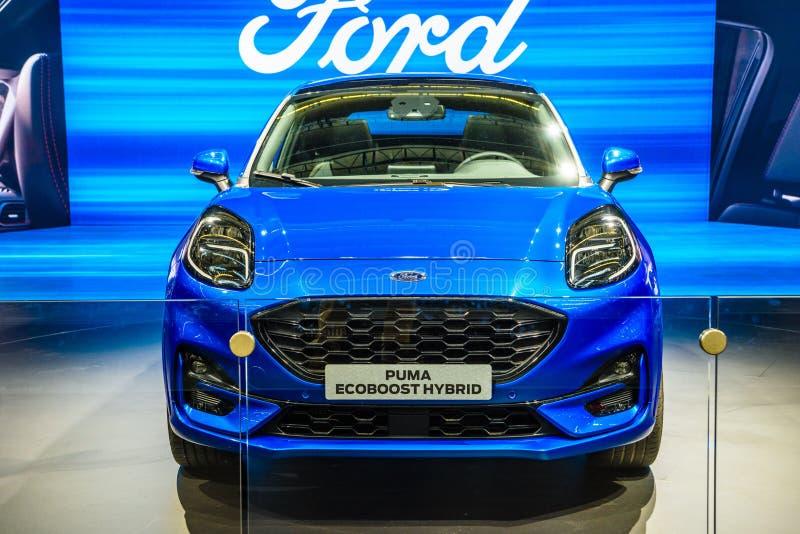 FRANKFURT, GERMANY - SEPT 2019: blue FORD PUMA ECOBOOST hybrid, IAA International Motor Show Auto Exhibtion royalty free stock image