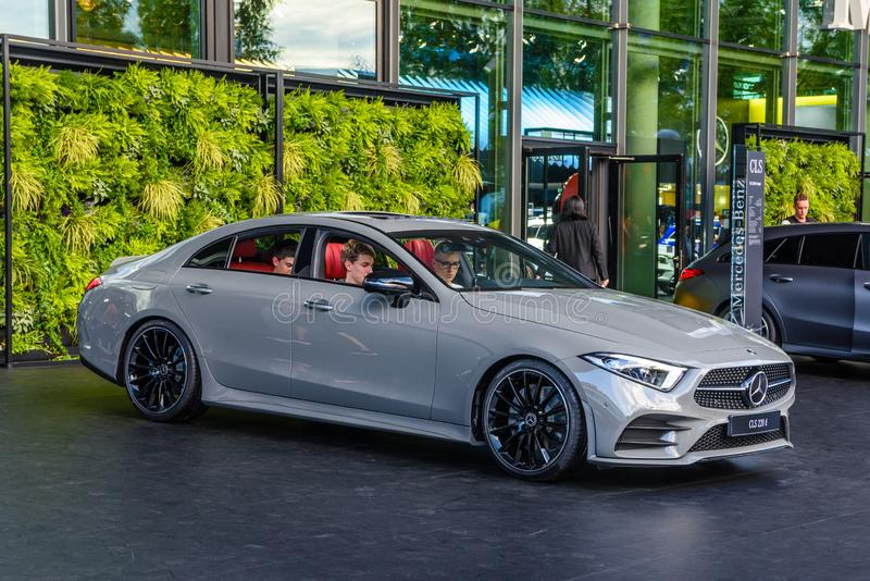 FRANKFURT, GERMANY - SEPT 2019: gray silver MERCEDES-BENZ CLS 22 stock photography