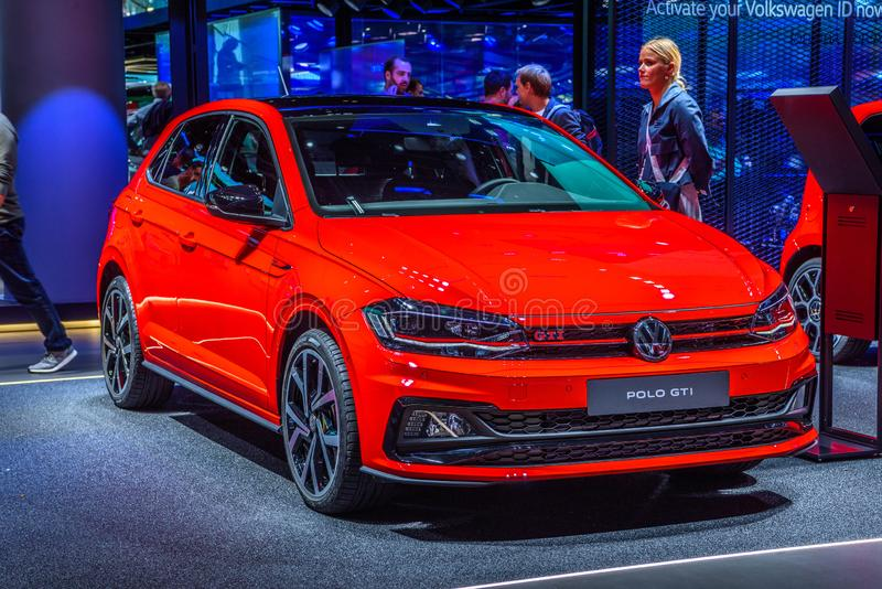FRANKFURT, GERMANY - SEPT 2019: red VOLKSWAGEN VW POLO GTI hatchback, IAA International Motor Show Auto Exhibtion royalty free stock images