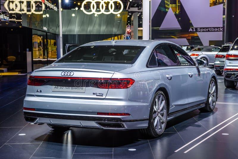 FRANKFURT, GERMANY - SEPT 2019: silver gray AUDI A8 D5 50 TDI QUATTRO sedan, IAA International Motor Show Auto Exhibtion.  stock photo