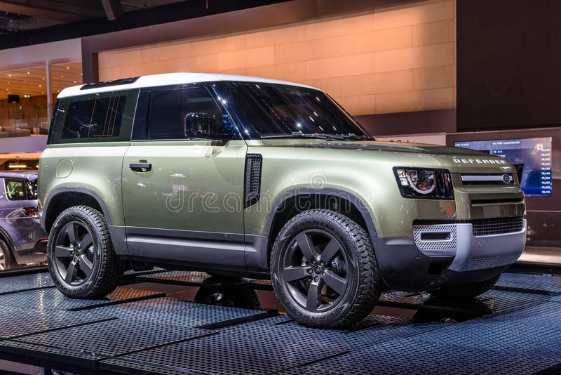 FRANKFURT, GERMANY - SEPT 2019: silver SUV LANDROVER 2020 DEFENDER L663, IAA International Motor Show Auto Exhibtion.  royalty free stock image