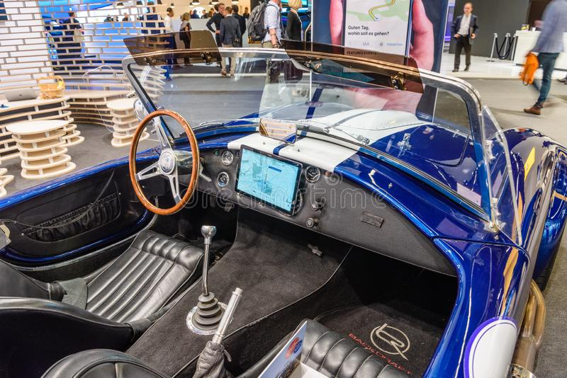FRANKFURT, GERMANY - SEPT 2019: white blue SHELBY COBRA retro classic car cabrio roadster, IAA International Motor Show Auto royalty free stock images