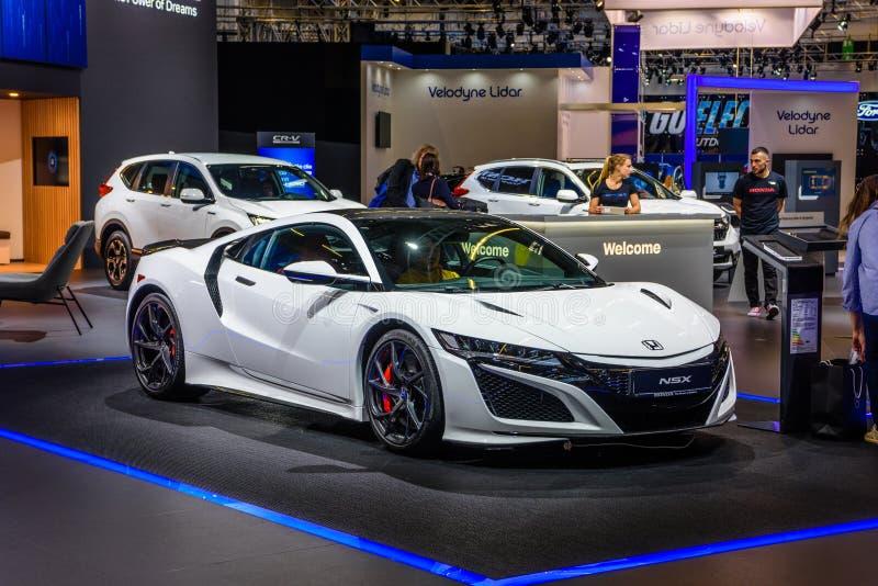 FRANKFURT, GERMANY - SEPT 2019: white HONDA NSX sport coupe, IAA International Motor Show Auto Exhibtion royalty free stock photos