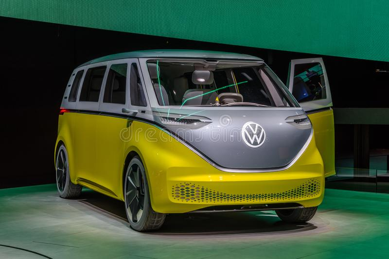 FRANKFURT, GERMANY - SEPT 2019: yellow gray VOLKSWAGEN VW I.D. BUZZ or VW Electric Microbus, is an electric minivan based on the royalty free stock image