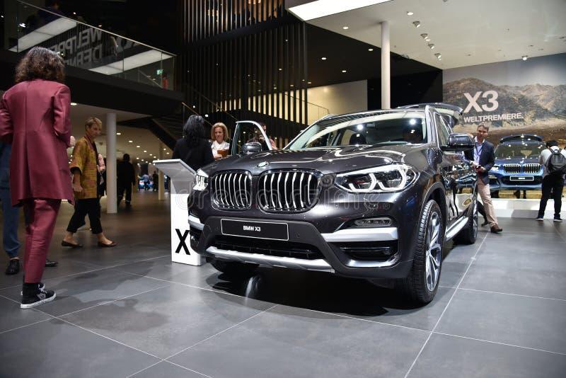 Frankfurt, Germany, September 12-2017: BMW X3 at IAA 2017. Frankfurt, Germany, September 12-2017: BMW X3 presented at IAA 2017 stock photos