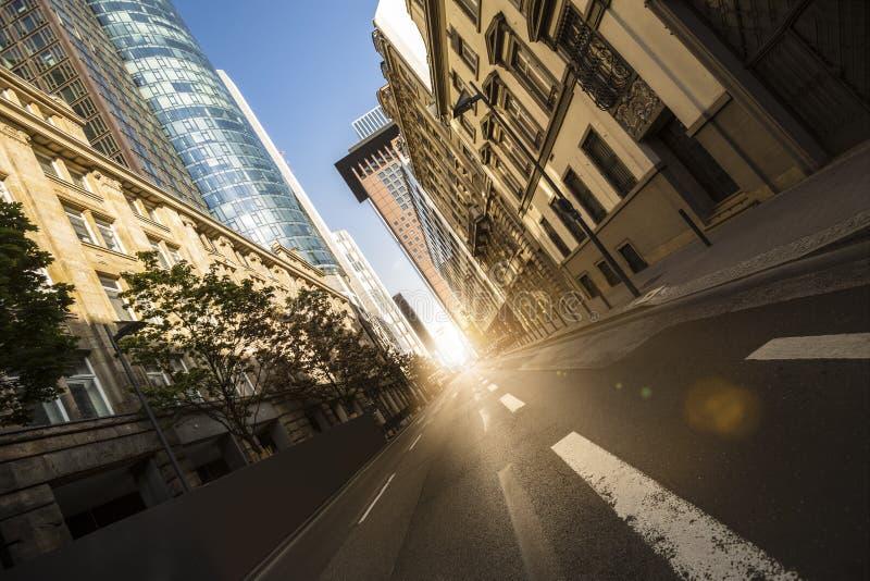 Frankfurt germany skyscraper street sun composing stock images