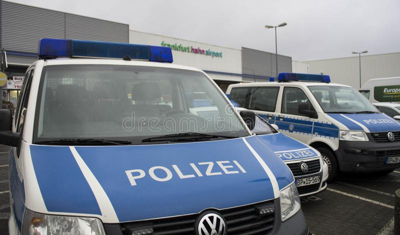 Police vehicle in International airport in Frankfurt Hahn, Germany royalty free stock image