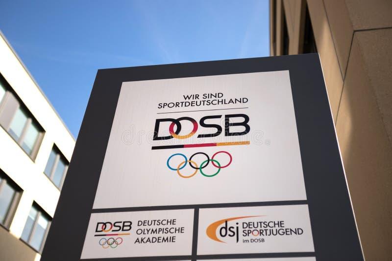 Frankfurt, hesse/Duitsland - 22 03 19: dosb teken in Frankfurt Duitsland stock fotografie