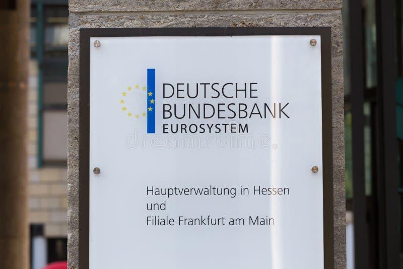 Frankfurt, hesse/germany - 11 10 18: deutsche bundesbank building sign in frankfurt germany. Frankfurt, hesse/germany - 11 10 18: a deutsche bundesbank building stock photos