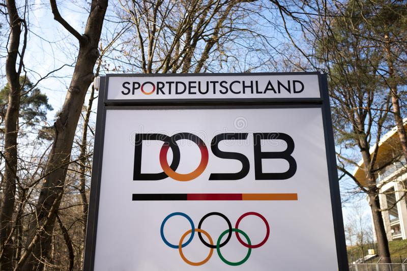 Frankfurt, hesse/germany - 22 03 19: dosb sign in frankfurt germany. Frankfurt, hesse/germany - 22 03 19: an dosb sign in frankfurt germany royalty free stock photo