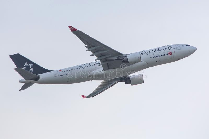 Star alliance print by turkish airlines airplane starting from frankfurt airport germany stock image
