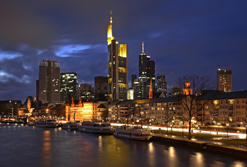 frankfurt huvudpanorama- sikt germany royaltyfria foton